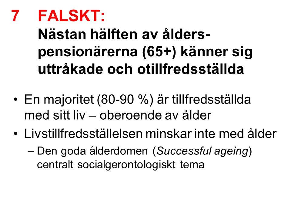 FALSKT: Nästan hälften av ålders-pensionärerna (65+) känner sig uttråkade och otillfredsställda