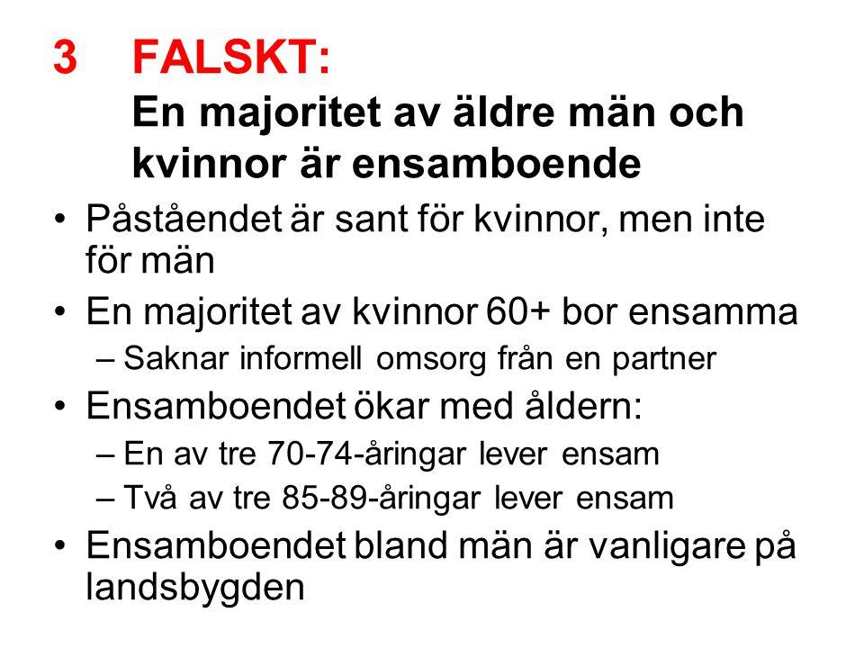 FALSKT: En majoritet av äldre män och kvinnor är ensamboende