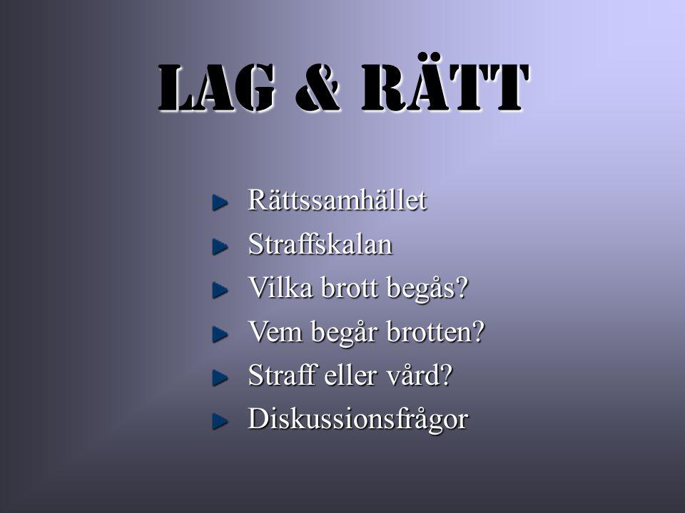 Lag & Rätt Rättssamhället Straffskalan Vilka brott begås