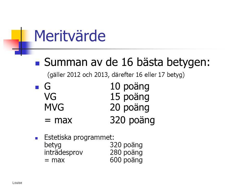 Meritvärde Summan av de 16 bästa betygen: (gäller 2012 och 2013, därefter 16 eller 17 betyg) G 10 poäng VG 15 poäng MVG 20 poäng.