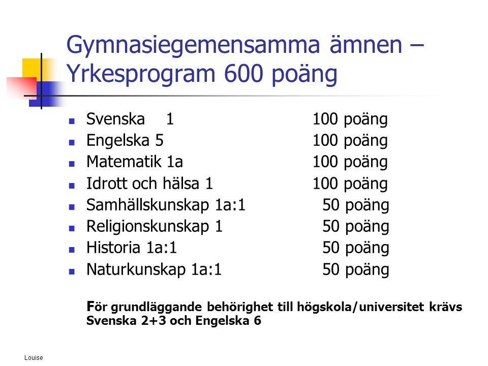Gymnasiegemensamma ämnen – Yrkesprogram 600 poäng