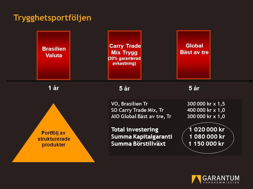 Trygghetsportföljen 1 år 5 år 5 år Total investering 1 020 000 kr