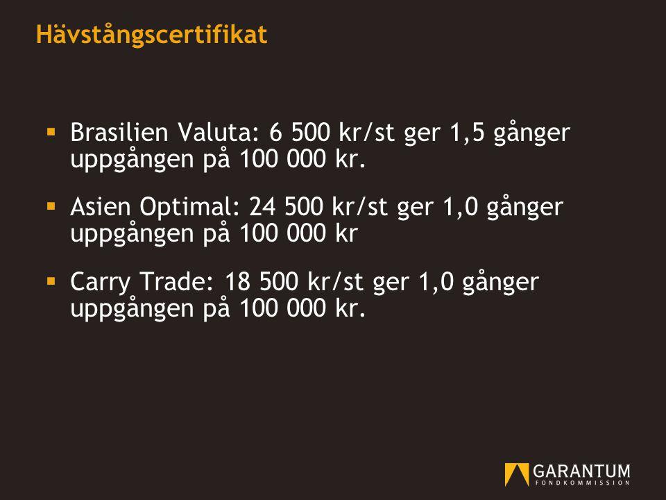 Hävstångscertifikat Brasilien Valuta: 6 500 kr/st ger 1,5 gånger uppgången på 100 000 kr.