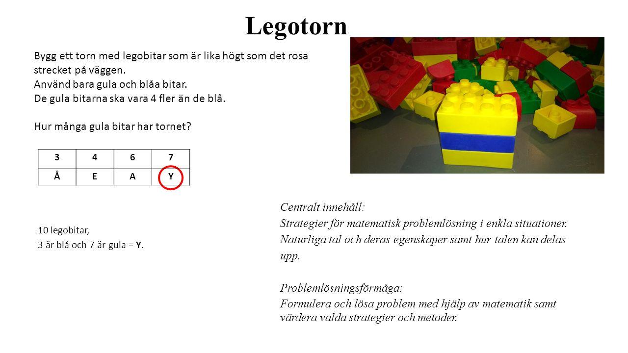 Legotorn Bygg ett torn med legobitar som är lika högt som det rosa strecket på väggen. Använd bara gula och blåa bitar.