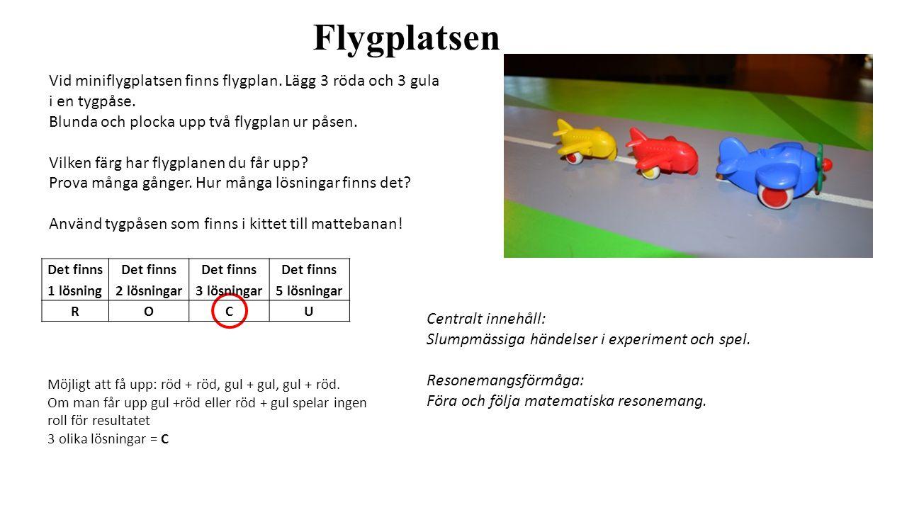 Flygplatsen Vid miniflygplatsen finns flygplan. Lägg 3 röda och 3 gula i en tygpåse. Blunda och plocka upp två flygplan ur påsen.