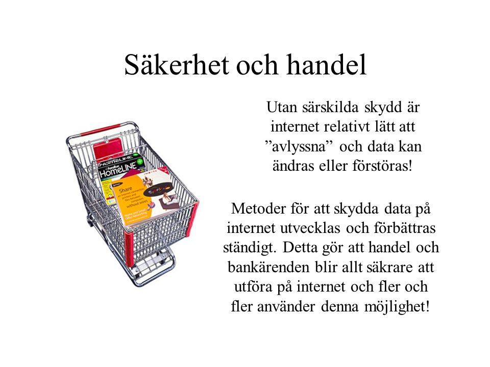 Säkerhet och handel Utan särskilda skydd är internet relativt lätt att avlyssna och data kan ändras eller förstöras!