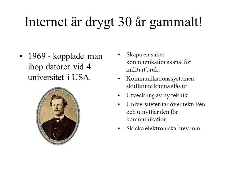 Internet är drygt 30 år gammalt!