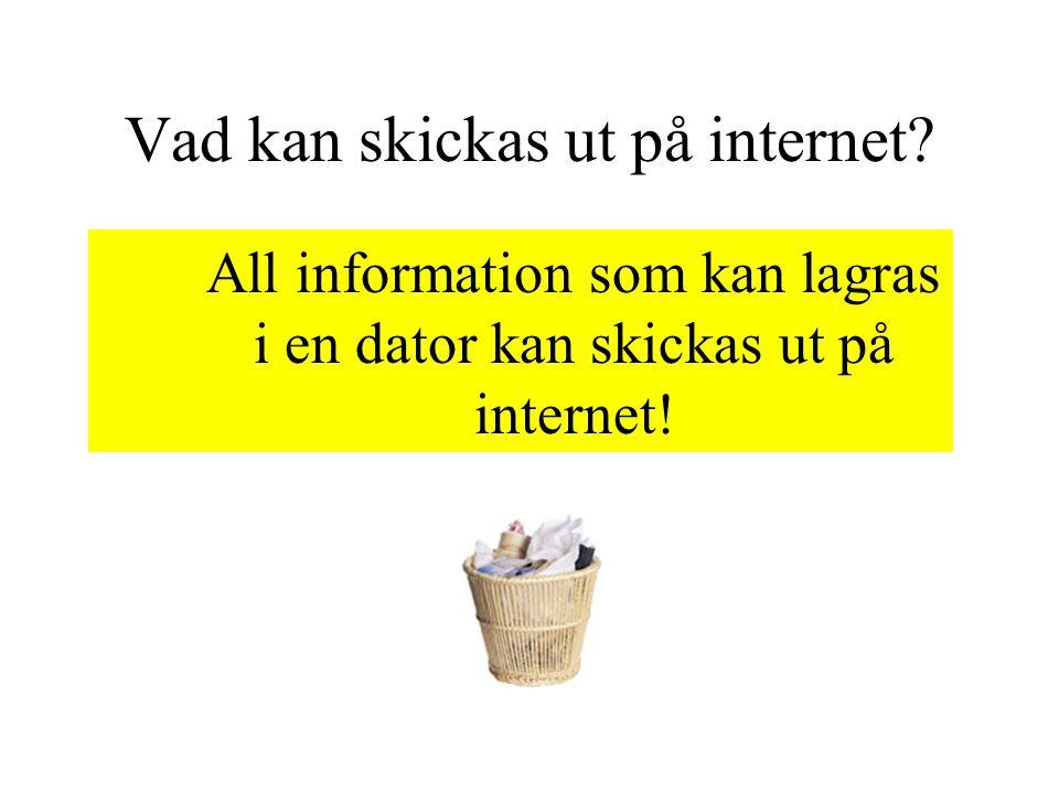Vad kan skickas ut på internet