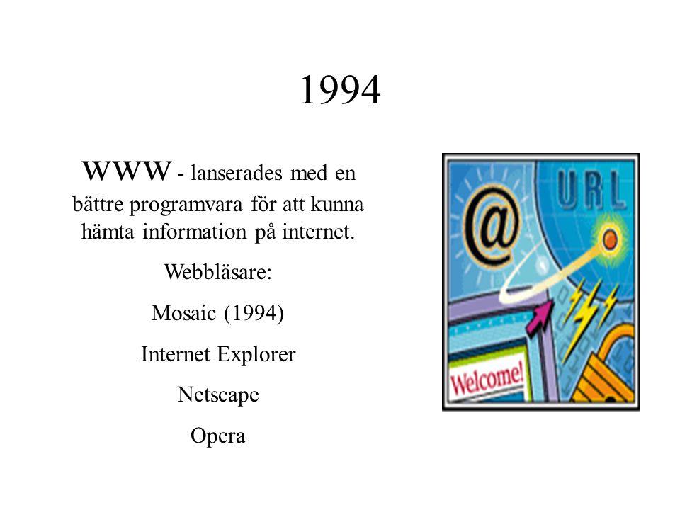 1994 www - lanserades med en bättre programvara för att kunna hämta information på internet. Webbläsare: