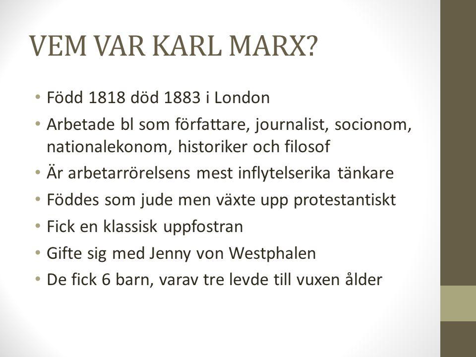 VEM VAR KARL MARX Född 1818 död 1883 i London