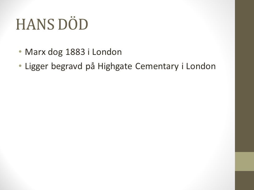 HANS DÖD Marx dog 1883 i London