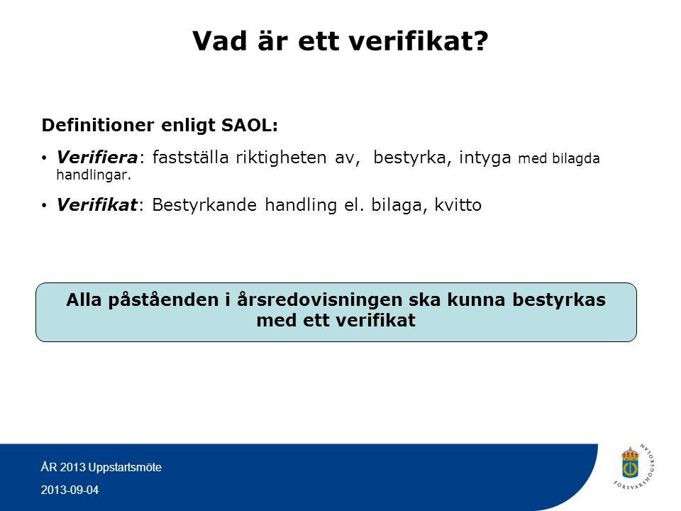 Vad är ett verifikat Definitioner enligt SAOL: