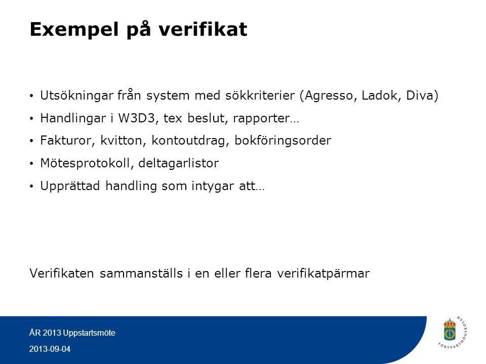 Exempel på verifikat Utsökningar från system med sökkriterier (Agresso, Ladok, Diva) Handlingar i W3D3, tex beslut, rapporter…