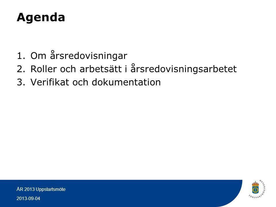 Agenda Om årsredovisningar
