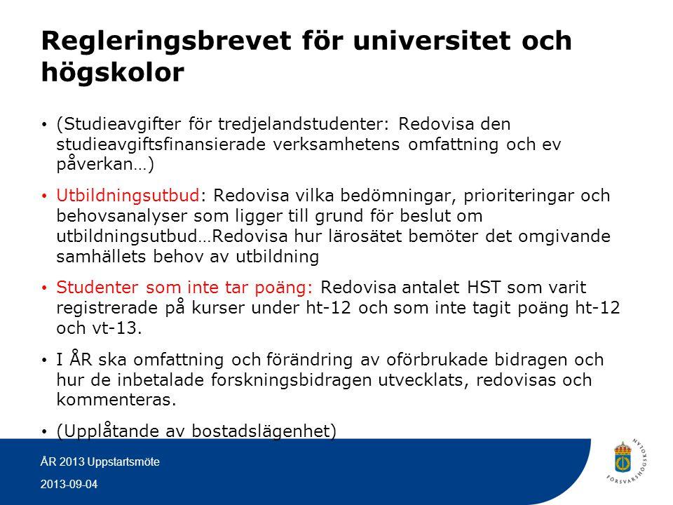 Regleringsbrevet för universitet och högskolor