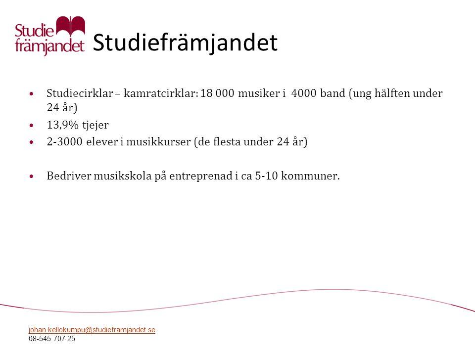 Studiefrämjandet Studiecirklar – kamratcirklar: 18 000 musiker i 4000 band (ung hälften under 24 år)