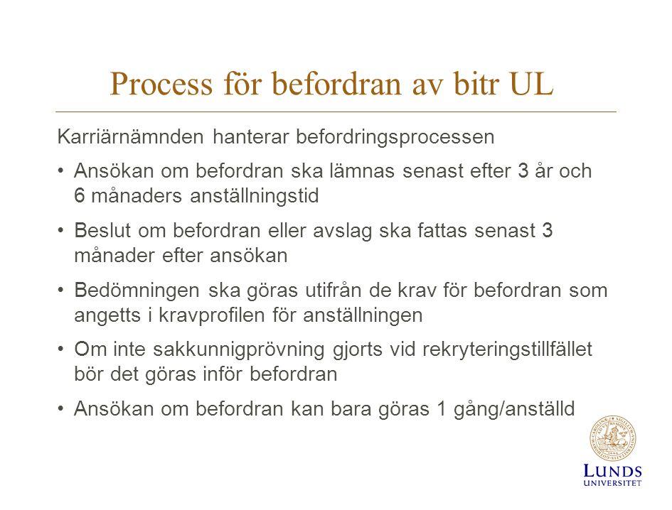 Process för befordran av bitr UL