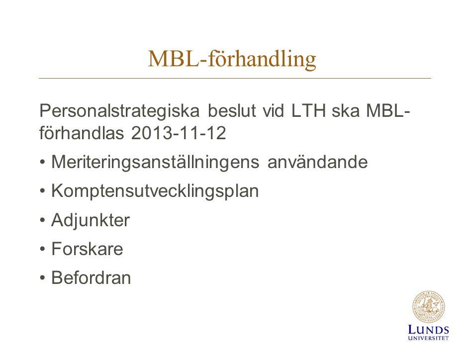 MBL-förhandling Personalstrategiska beslut vid LTH ska MBL- förhandlas 2013-11-12. Meriteringsanställningens användande.