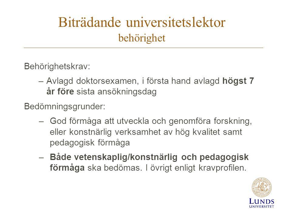 Biträdande universitetslektor behörighet