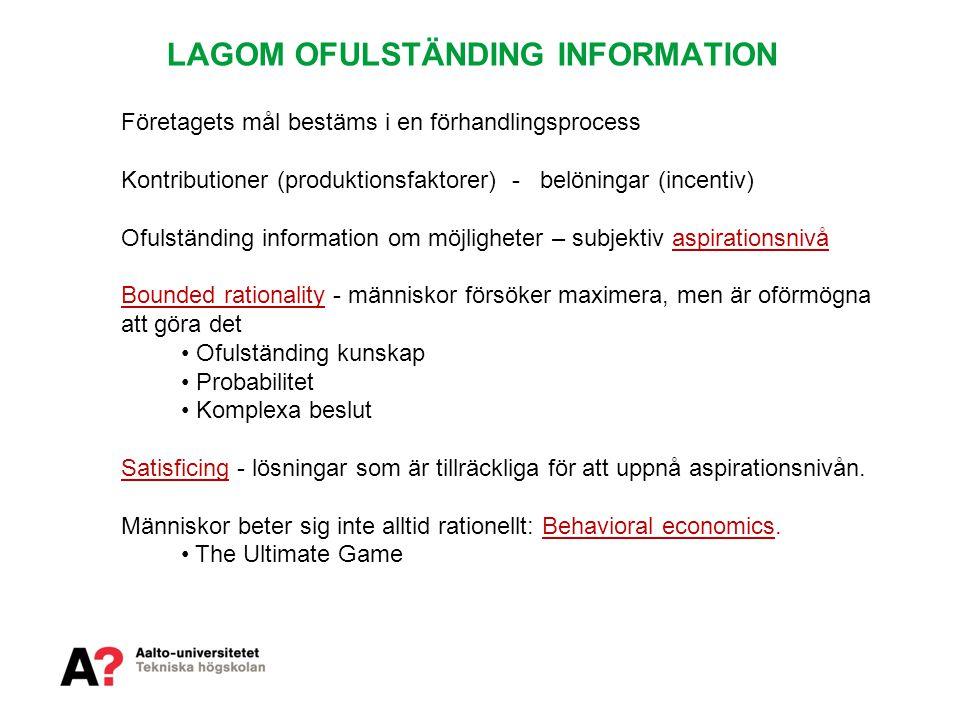 LAGOM OFULSTÄNDING INFORMATION
