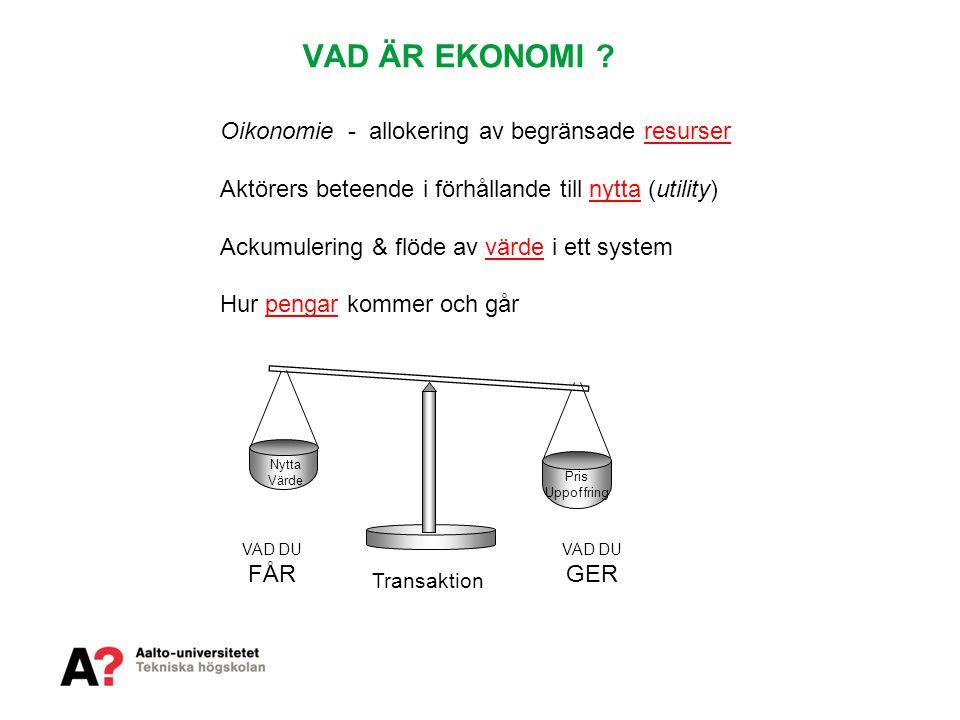 VAD ÄR EKONOMI Oikonomie - allokering av begränsade resurser