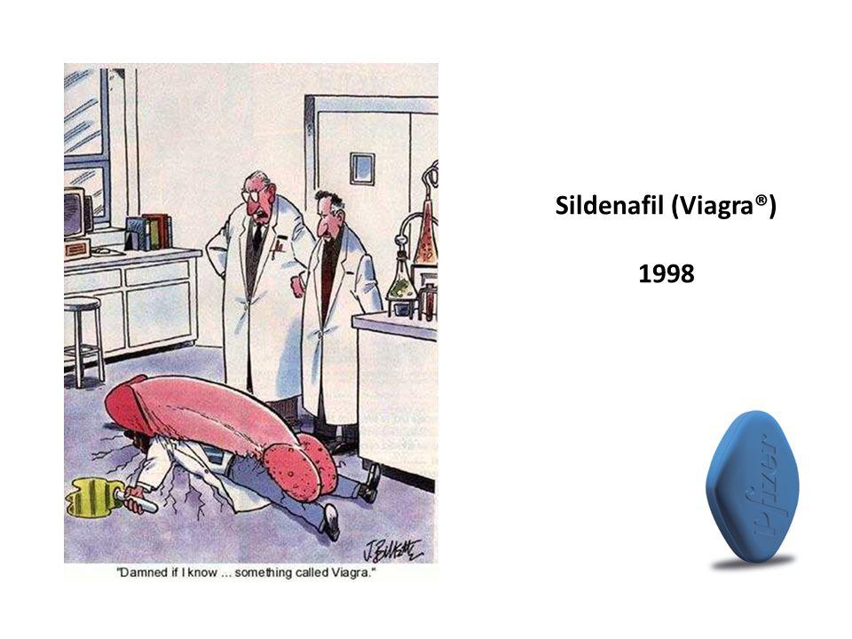Sildenafil (Viagra®) 1998 Hjärtmedicion med ökat flöde penilt 1994, registrerat 1998