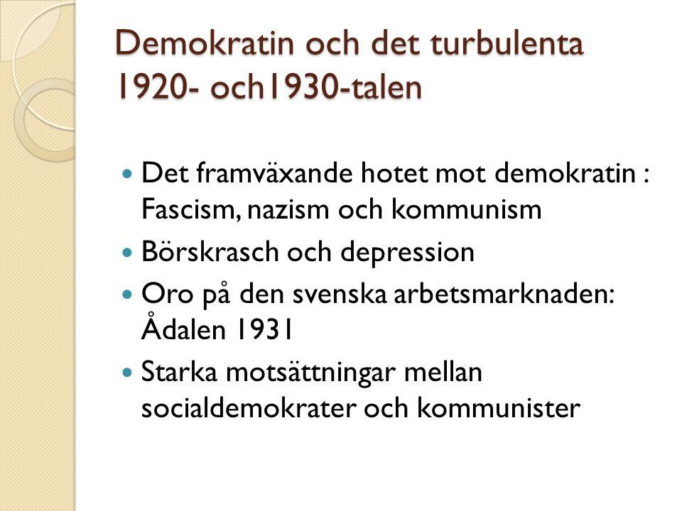 Demokratin och det turbulenta 1920- och1930-talen