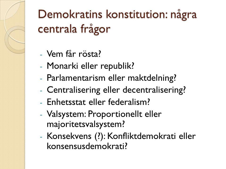 Demokratins konstitution: några centrala frågor
