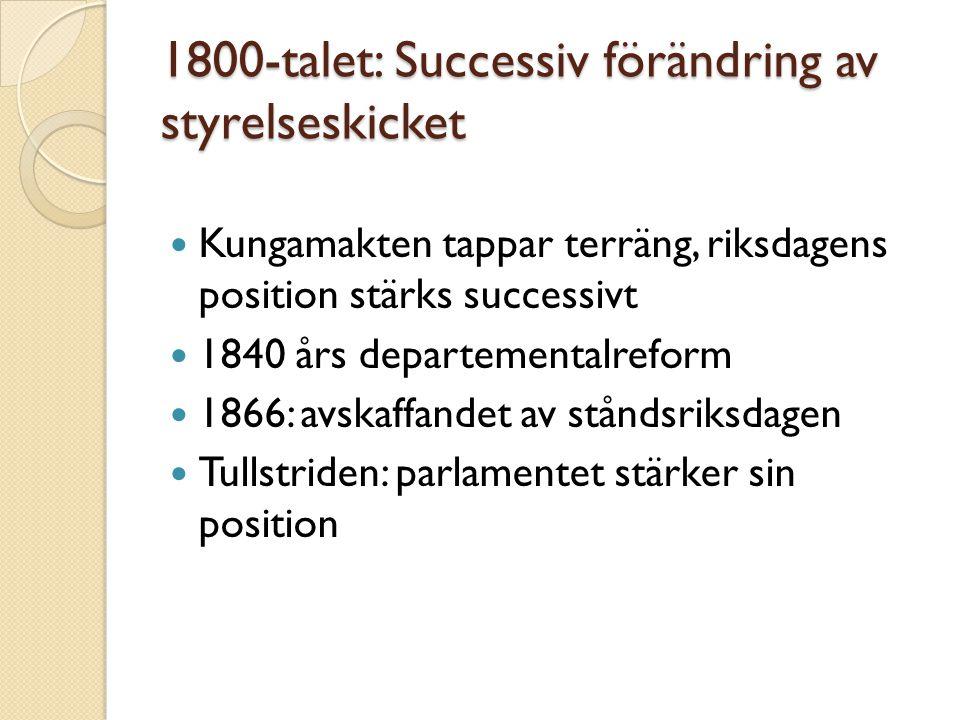 1800-talet: Successiv förändring av styrelseskicket