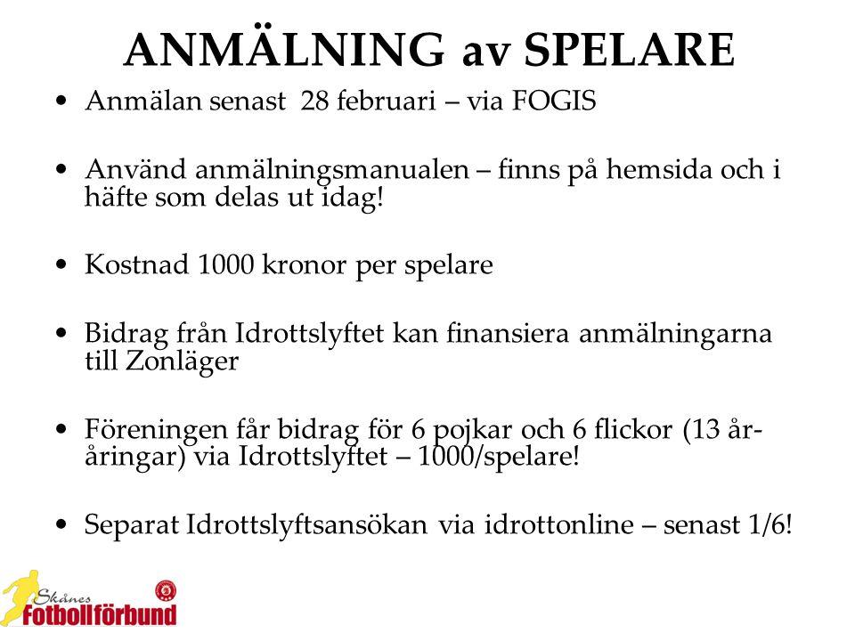 ANMÄLNING av SPELARE Anmälan senast 28 februari – via FOGIS