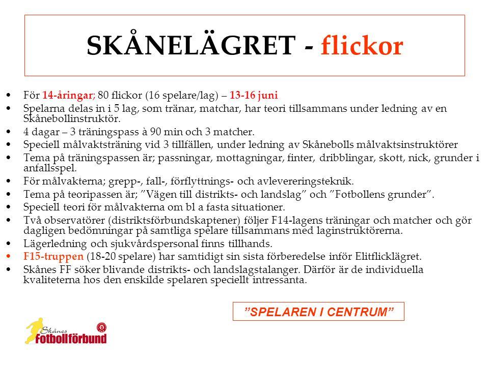 SKÅNELÄGRET - flickor SPELAREN I CENTRUM