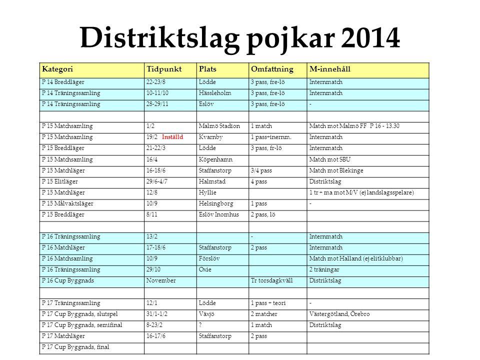 Distriktslag pojkar 2014 Kategori Tidpunkt Plats Omfattning M-innehåll