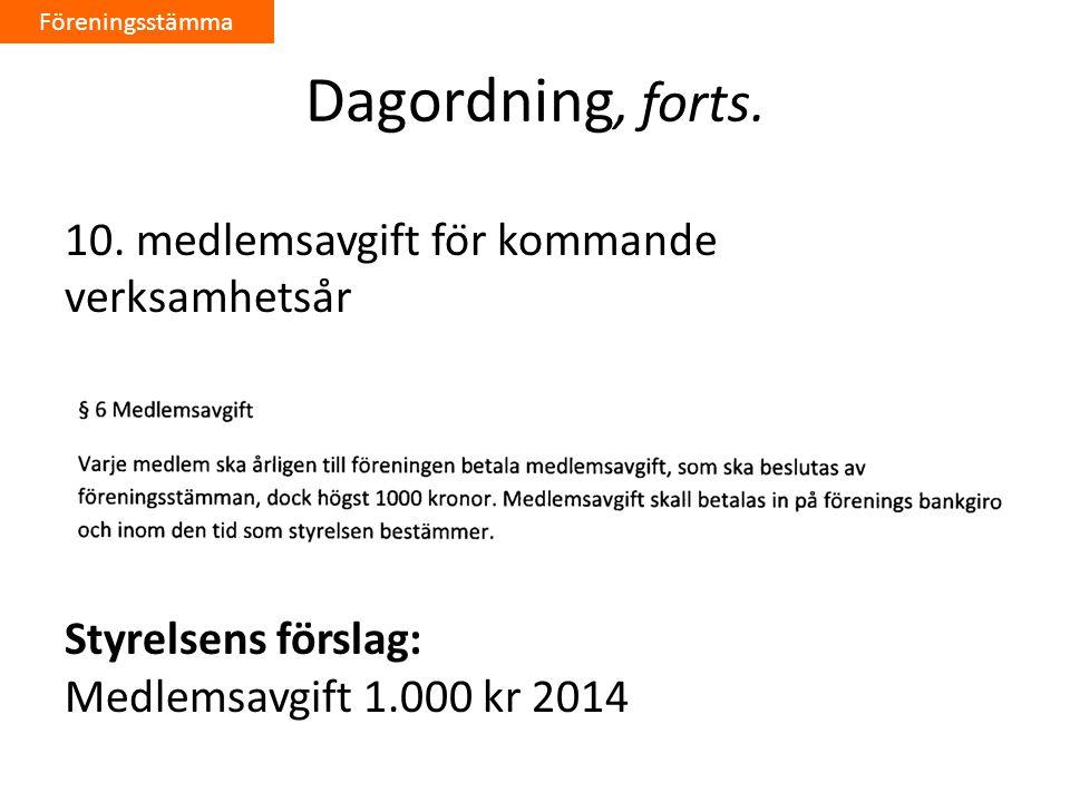 Föreningsstämma Dagordning, forts. 10.