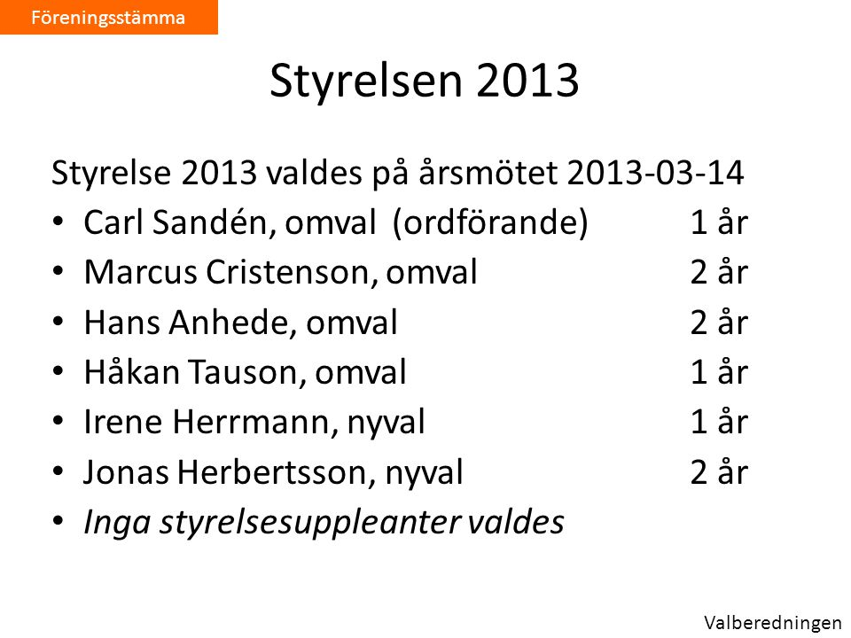 Styrelsen 2013 Styrelse 2013 valdes på årsmötet 2013-03-14