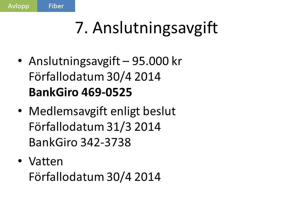 Avlopp Fiber. 7. Anslutningsavgift. Anslutningsavgift – 95.000 kr Förfallodatum 30/4 2014 BankGiro 469-0525.