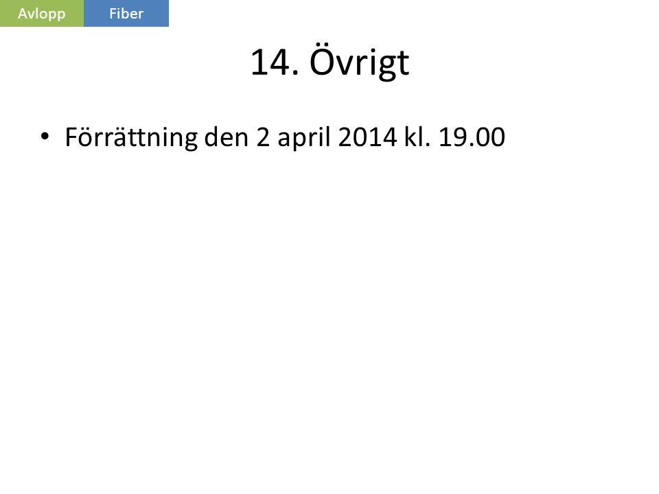 Avlopp Fiber 14. Övrigt Förrättning den 2 april 2014 kl. 19.00