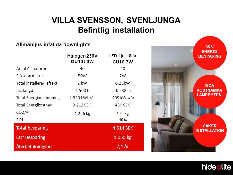 VILLA SVENSSON, SVENLJUNGA Befintlig installation