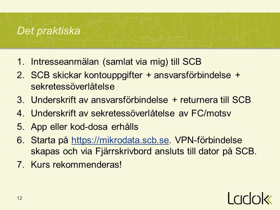 Det praktiska Intresseanmälan (samlat via mig) till SCB