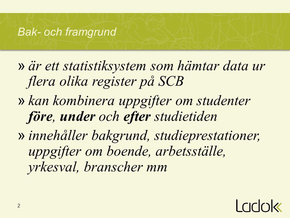 är ett statistiksystem som hämtar data ur flera olika register på SCB