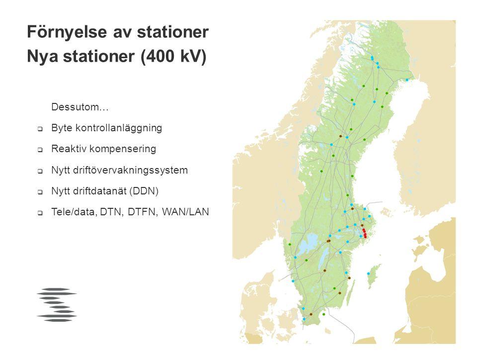 Förnyelse av stationer Nya stationer (400 kV)