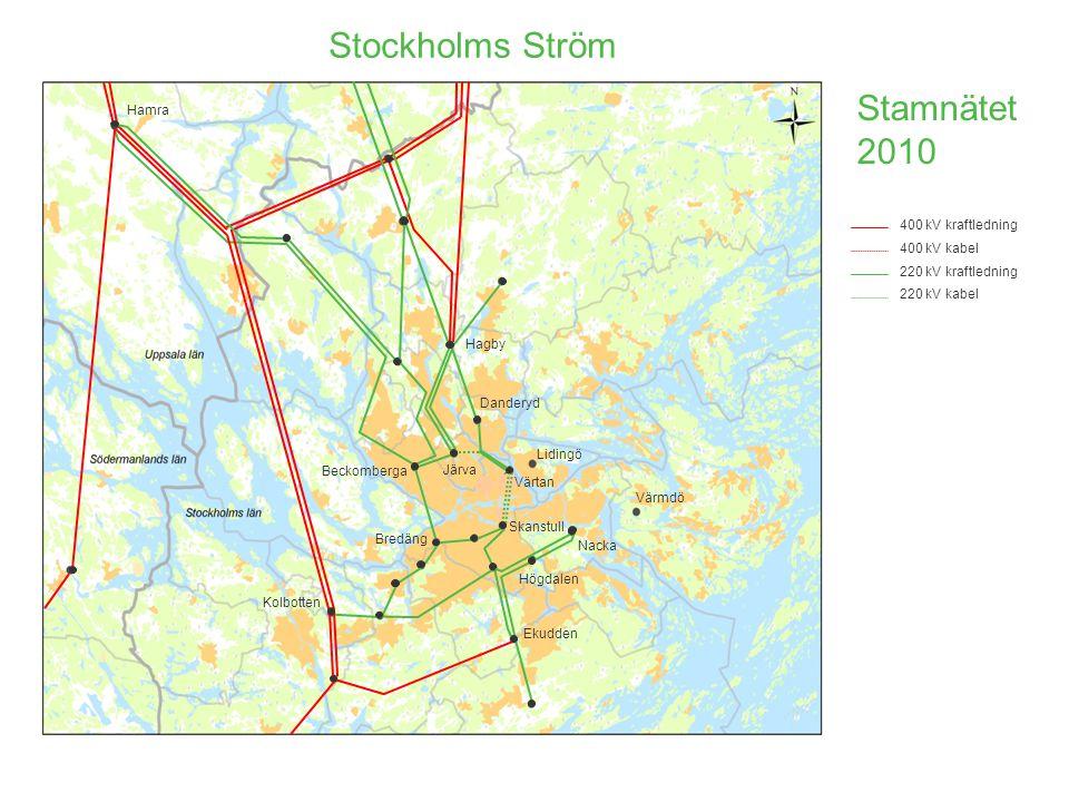 Stockholms Ström Stamnätet 2010 Hamra 400 kV kraftledning 400 kV kabel
