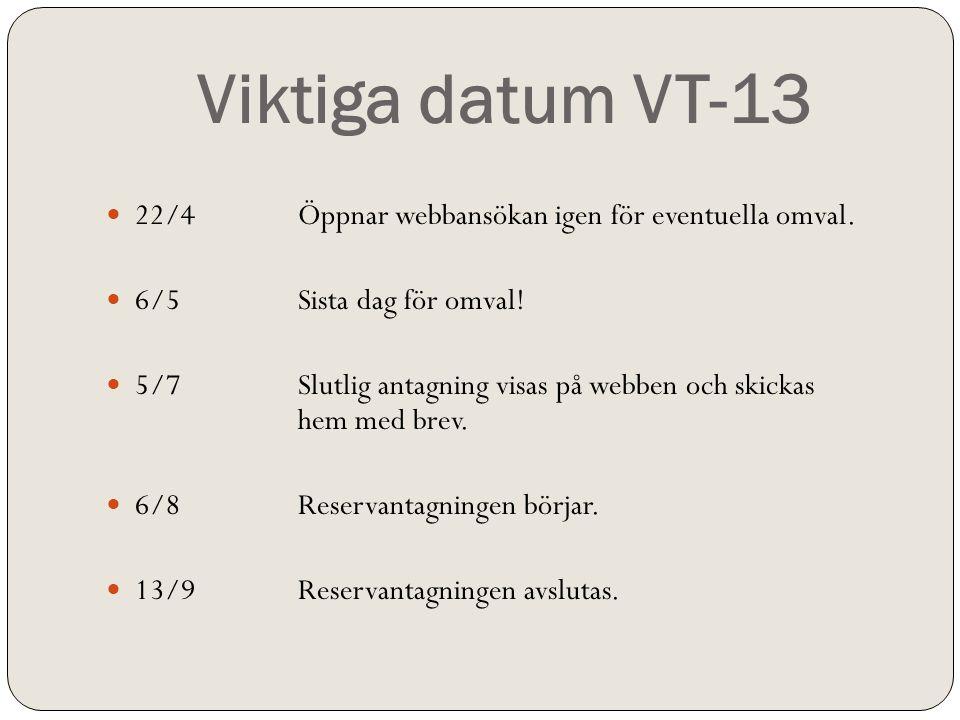 Viktiga datum VT-13 22/4 Öppnar webbansökan igen för eventuella omval.