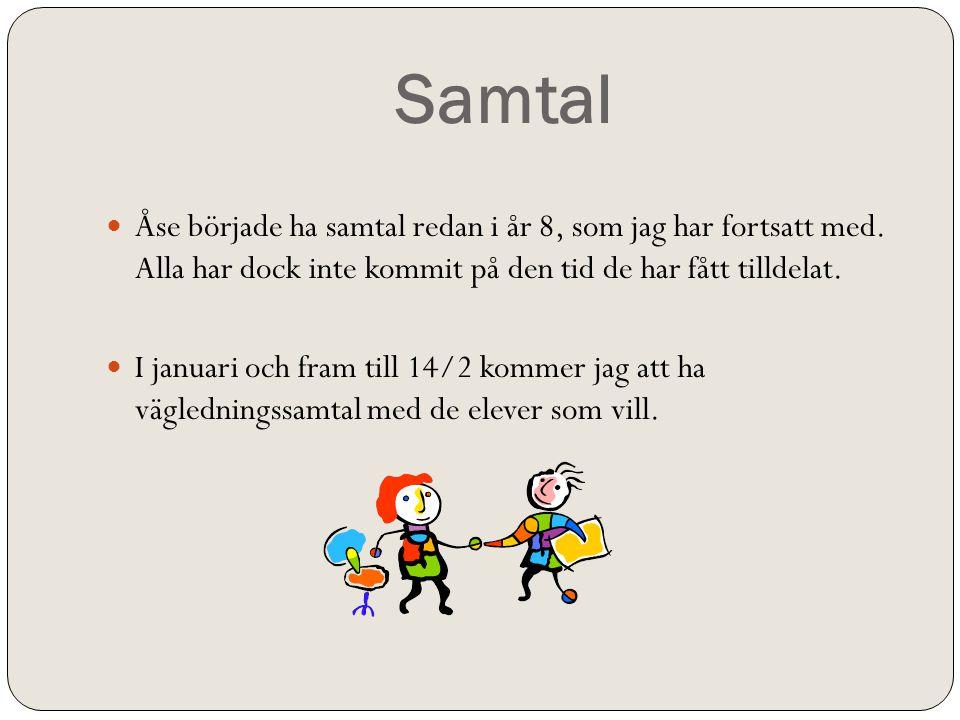 Samtal Åse började ha samtal redan i år 8, som jag har fortsatt med. Alla har dock inte kommit på den tid de har fått tilldelat.