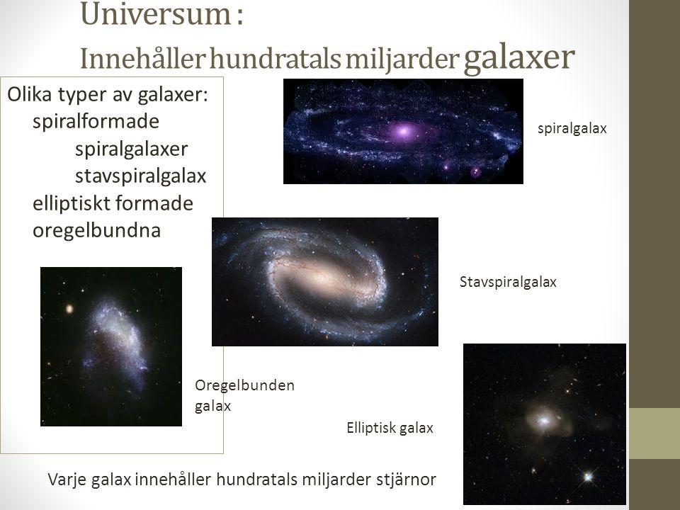 Universum : Innehåller hundratals miljarder galaxer