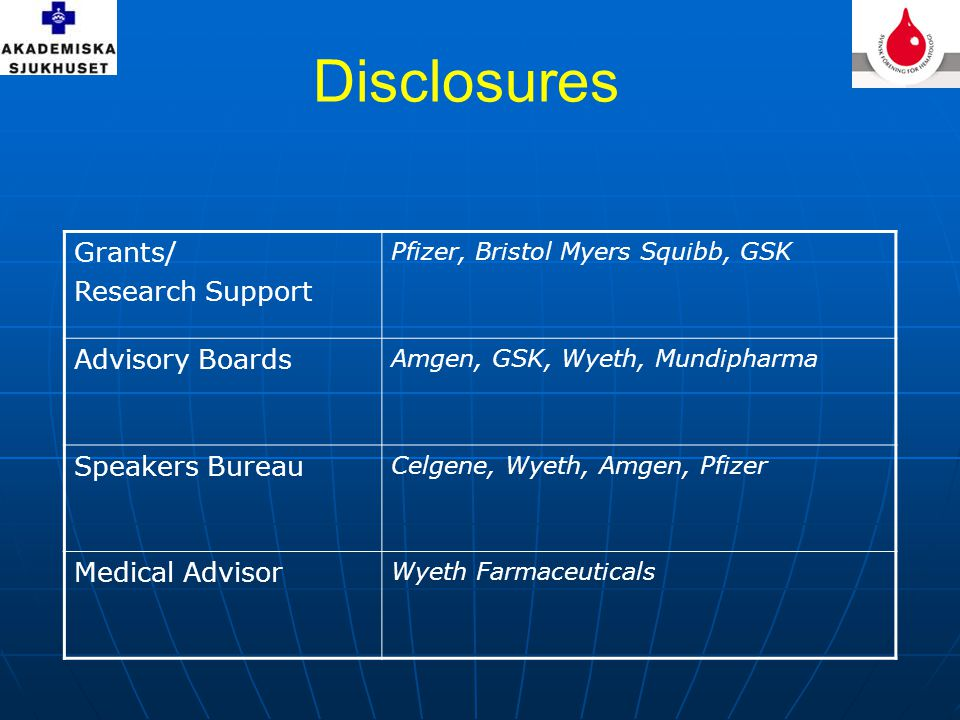 Disclosures Grants/ Research Support Advisory Boards Speakers Bureau