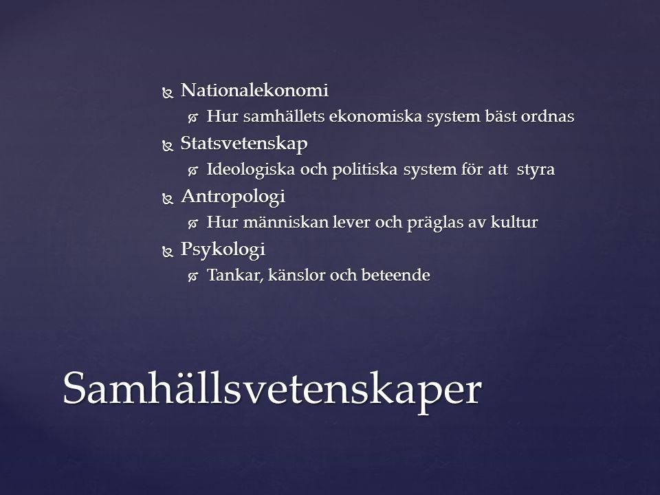 Samhällsvetenskaper Nationalekonomi Statsvetenskap Antropologi