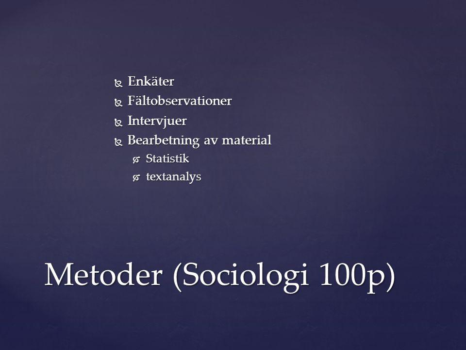 Metoder (Sociologi 100p) Enkäter Fältobservationer Intervjuer