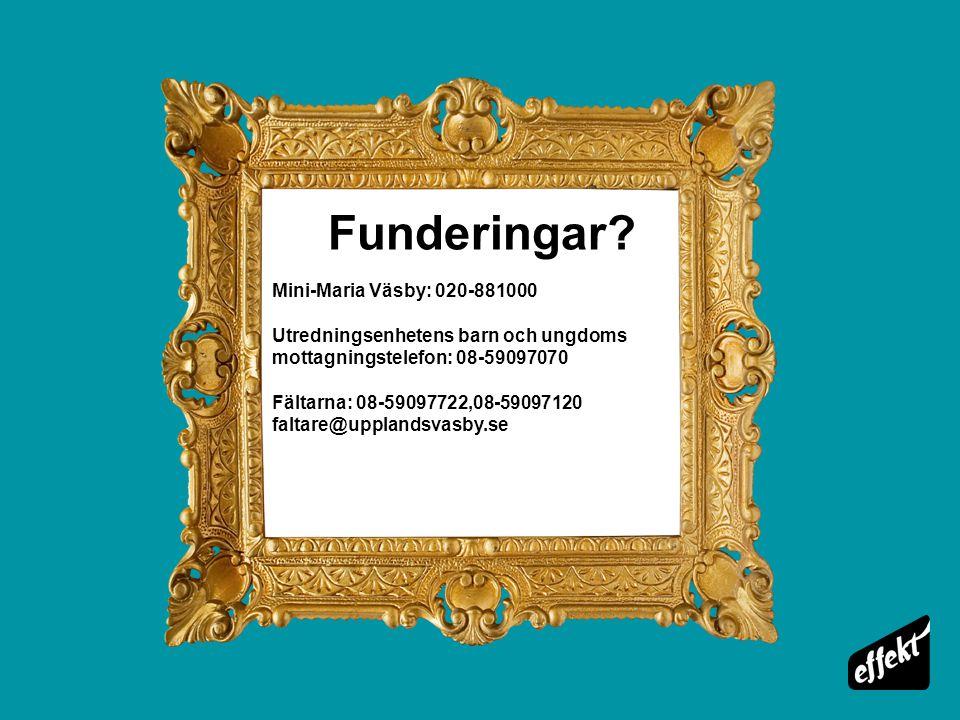 Funderingar Mini-Maria Väsby: 020-881000