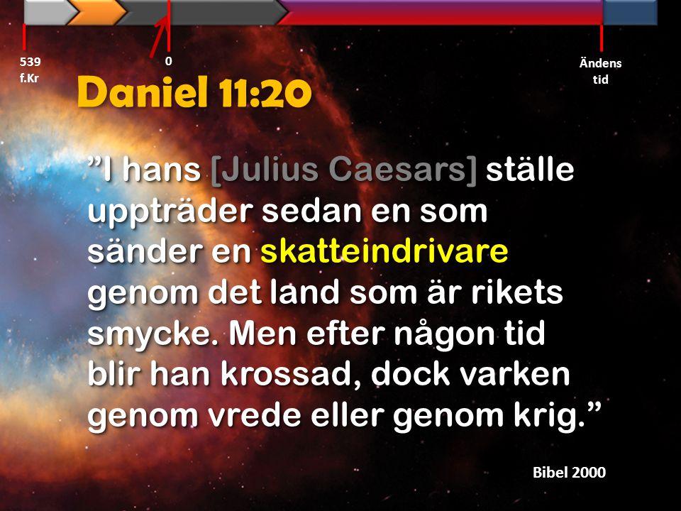 539 f.Kr Ändens tid. Daniel 11:20.