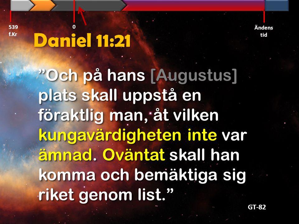 539 f.Kr Ändens tid. Daniel 11:21.